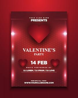 Valentinstag party einladungskarte mit glühen