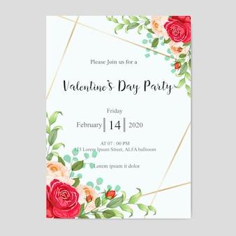 Valentinstag party einladungskarte mit schönen blumen