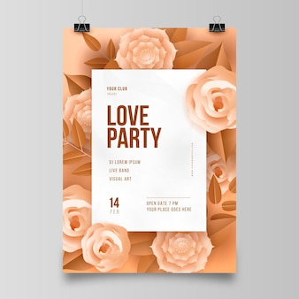Valentinstag party flyer im papierstil