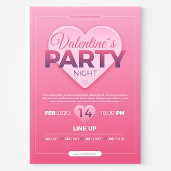 Valentinstag party flyer / poster vorlage