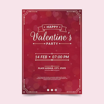 Valentinstag party flyer vorlage im flachen design