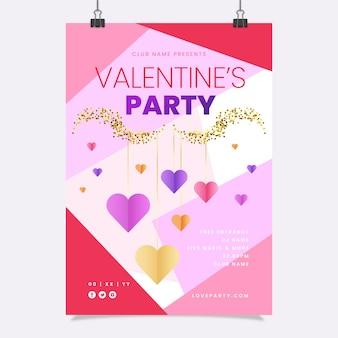 Valentinstag party flyer vorlage im flachen design