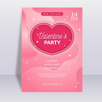 Valentinstag party flyer vorlage im papierstil