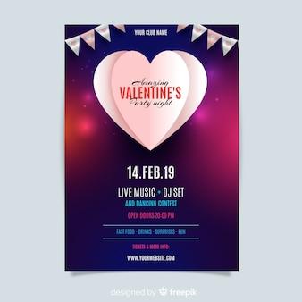 Valentinstag-party flyer vorlage