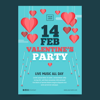 Valentinstag party flyer vorlage