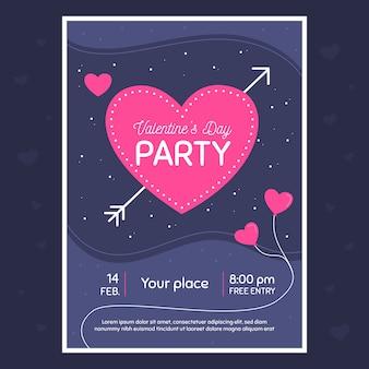 Valentinstag party flyer vorlage