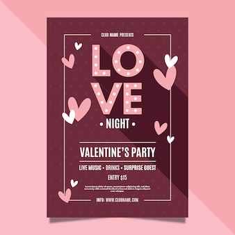 Valentinstag party plakat vorlage
