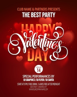 Valentinstag party plakatgestaltung. vorlage der einladung, flyer, poster