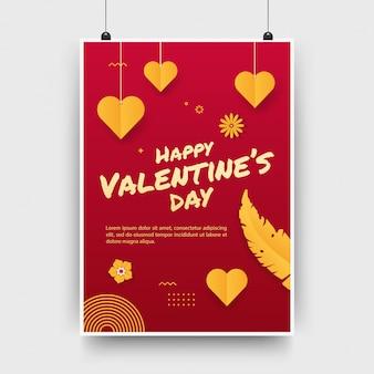 Valentinstag-party-poster, flyer-vorlage, symbol der romantischen feiertagsfeier
