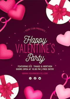 Valentinstag party poster mit realistischen elementen