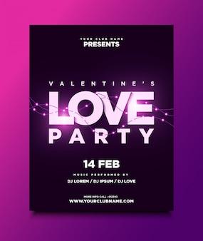 Valentinstag party poster oder flyer vorlage mit leuchtenden lampen