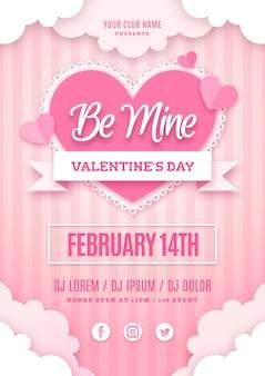 Valentinstag party poster vorlage im papierstil
