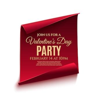 Valentinstag party poster vorlage. rote, gebogene papierfahne lokalisiert auf weißem hintergrund.