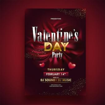 Valentinstag-partyschablone oder einladungskartendesign mit zeit-, datums- und veranstaltungsortdetails.
