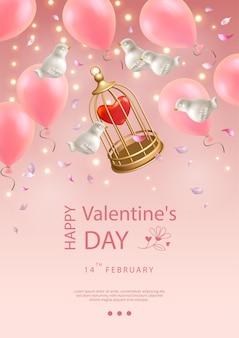 Valentinstag poster. kreative komposition von fliegenden weißen porzellanvögeln, luftballons, blütenblättern und vogelkäfig