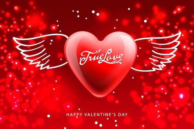 Valentinstag poster true love geflügeltes herz-vektor-bild