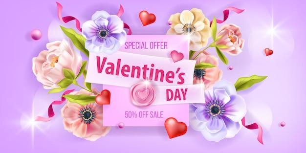 Valentinstag promo verkauf karte liebe vektor hintergrund mit anemone blumen, pfingstrose, herzen, konfetti. romantisches frühlingsblumenplakat oder grußflieger des feiertags. valentinstag natur hintergrund design