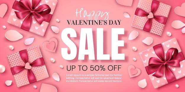 Valentinstag promotion banner mit geschenken und herz