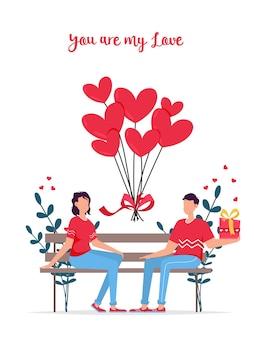 Valentinstag romantische dating geschenkkarte. liebt beziehung zwei personen. paar sitzt auf bank. liebespaar auf bank. fröhliches junges paar, das nahe beieinander sitzt und lächelt.