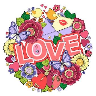Valentinstag runde form aus abstrakten blumen schmetterlinge vögel küssen und das wort liebe gemacht