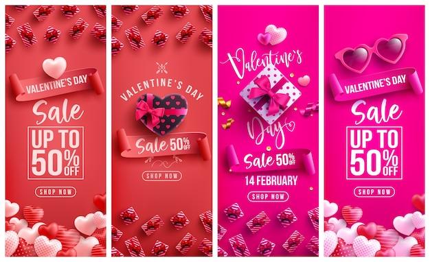 Valentinstag sale 50% rabatt auf poster oder banner