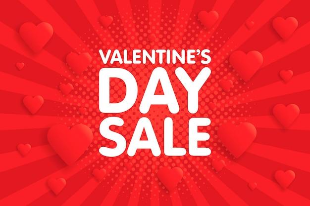 Valentinstag sale banner in vintage comics retro-hintergrund mit herzen. vektor-illustration