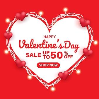 Valentinstag sale banner mit 50% rabatt