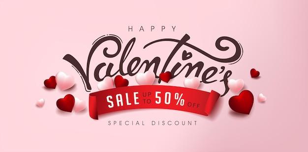 Valentinstag sale banner mit herz und kalligraphie von valentinstag.