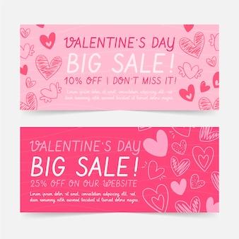 Valentinstag sale banner mit rabatt