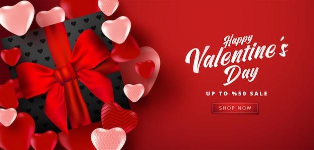 Valentinstag sale banner mit vielen süßen herzen