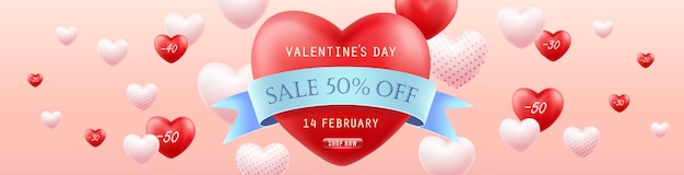 Valentinstag sale. horizontales banner.