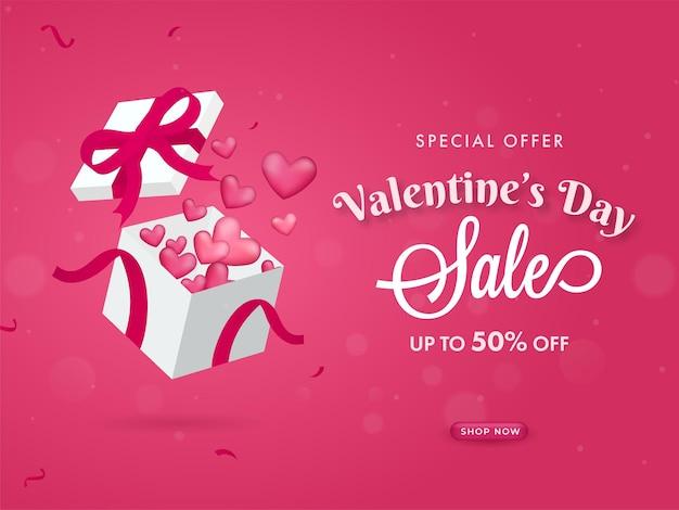 Valentinstag sale poster design mit glänzenden herzen, die aus der geschenkbox kommen.