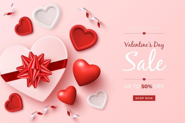 Valentinstag sale promo mit realistischen elementen