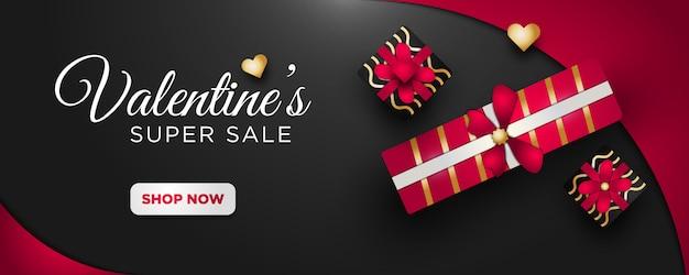 Valentinstag sales banner mit elegantem stil