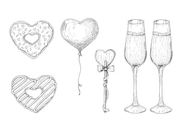 Valentinstag-satz mit gezeichneten gegenständen des gekritzels hand im skizzenartlutscher, glasierter donut, glas champagner. herzförmige objekte. symbole zum valentinstag