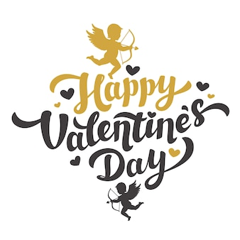 Valentinstag schriftzug mit dem bild der amor silhouette