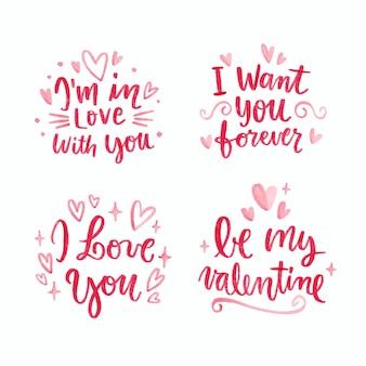 Valentinstag schriftzug sammlung