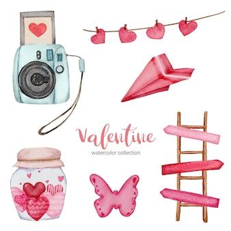 Valentinstag set elemente, kamera, schmetterling, leiter und vieles mehr.