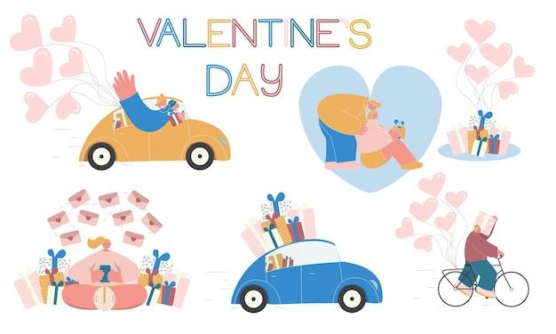 Valentinstag-set für karte.