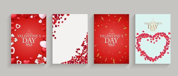 Valentinstag set kartenvorlagen