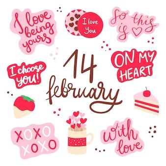 Valentinstag-set mit liebeselementen herz überlagert kalligraphie-vorlage für sticker-kit