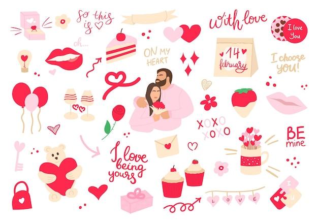 Valentinstag-set mit liebeselementen menschen zusammen herz überlagert kalligraphie