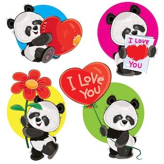 Valentinstag-set mit niedlichen panda-bären, mit weichem herz, mit liebe, die sie grußkarte