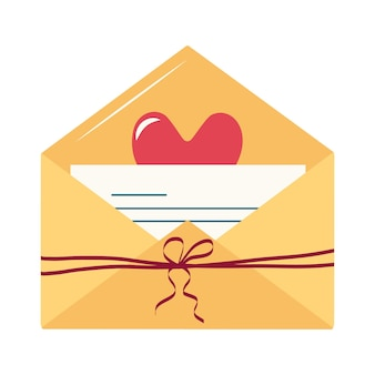 Valentinstag-set von einfachen symbolen für eine liebesbotschaft in einem umschlag eine notiz auf einem blatt papier mit ...