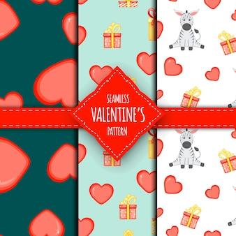 Valentinstag-set von nahtlosen mustern. cartoon-stil. vektor-illustration.