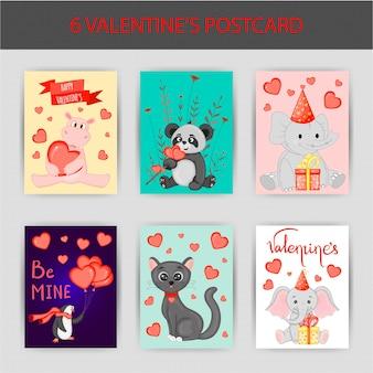 Valentinstag-set von postkarten. cartoon-stil. vektor-illustration.