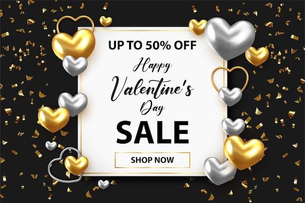 Valentinstag-shop-rabattaktion mit leerraum für text- und herzelemente im schwarzen hintergrund.