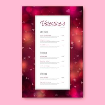 Valentinstag-speisekarte