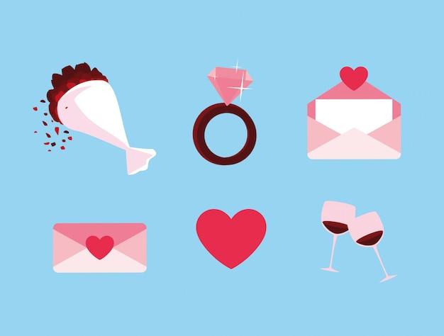 Valentinstag stellen icons