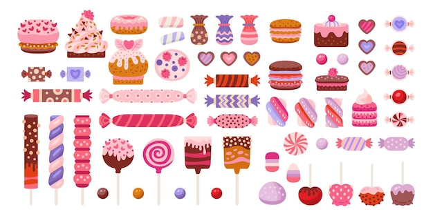 Valentinstag süßigkeiten set isoliert in weiß